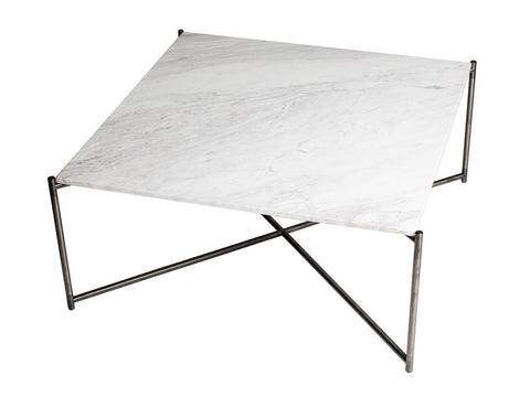 Square Coffee Table with White Marble Top