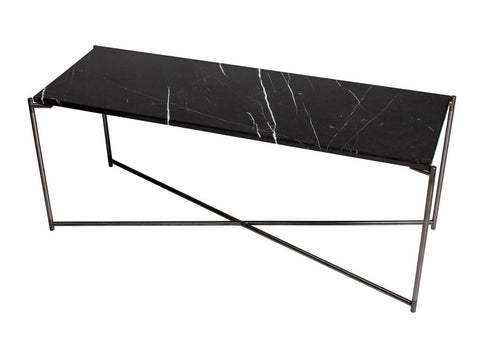 Black Marble Console Table with Criss Cross Metal Legs