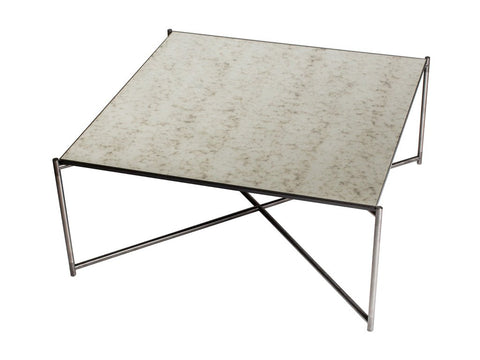 Square Coffee Table with Antiqued Glass Top