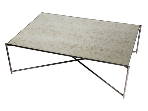 Rectangle Coffee Table with Antiqued Glass Top