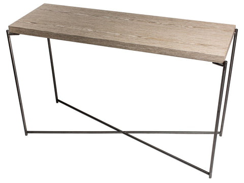Console Table with Criss Cross Metal Frame & Weathered Oak Frame