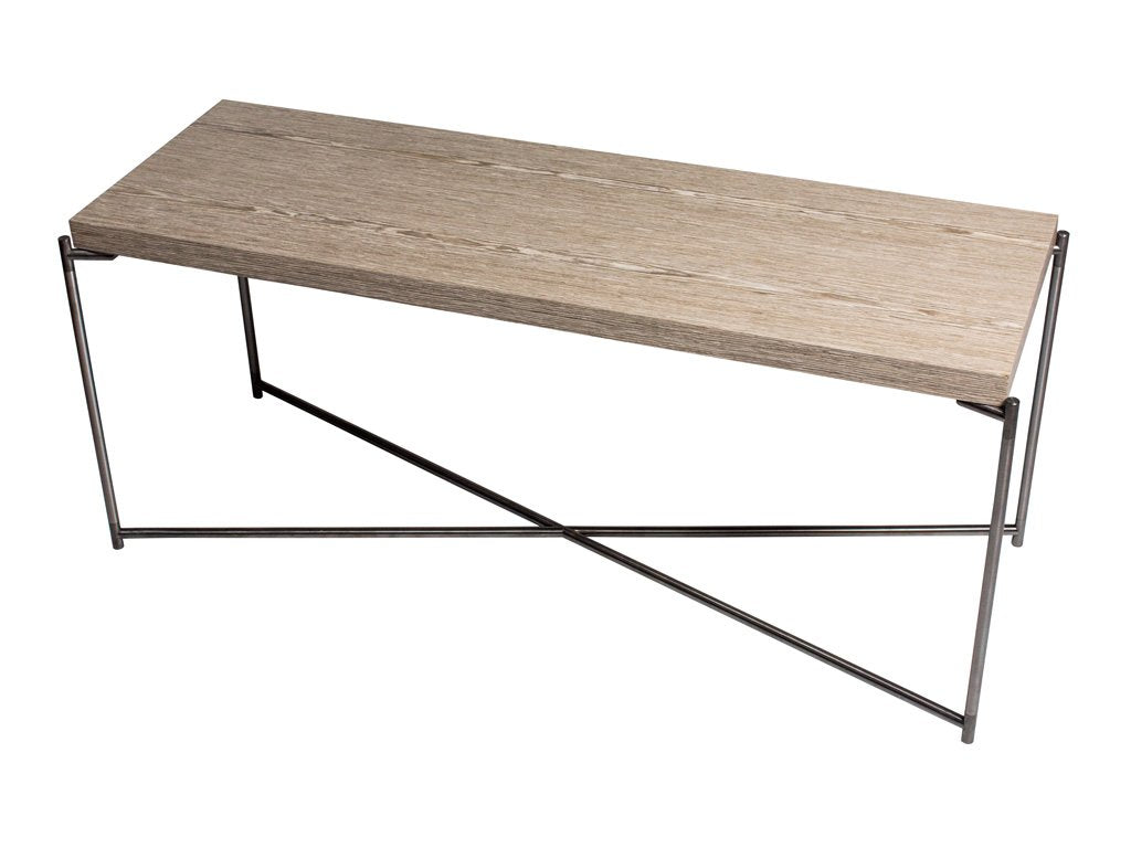 Weathered Oak Console Table With Criss Cross Metal Legs Allissias