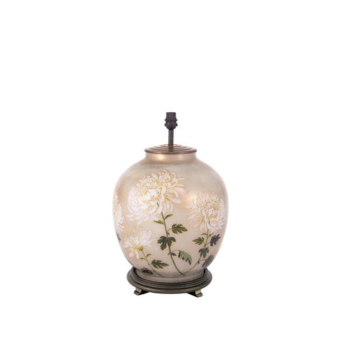 White Chrysanthemum Large Round Lamp Base - Allissias Attic  &  Vintage French Style - 2