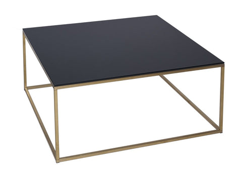 Black Glass Coffee Table on Metal Base - Square