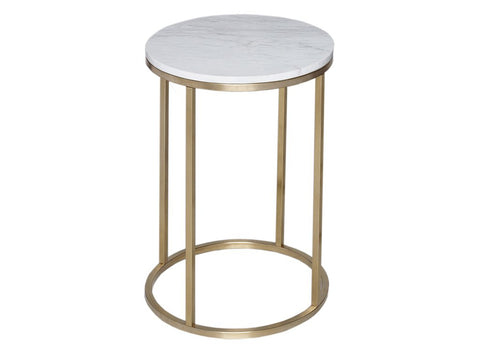 Round White Marble - Side Table or Lamp Stand