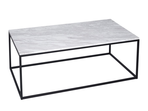 White Marble Coffee Table on Metal Base - Rectangle
