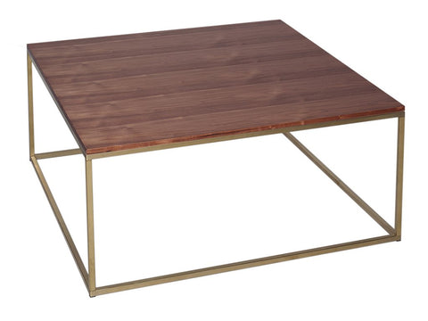 Walnut Coffee Table with Metal Base - Square