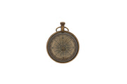 Victoria Brass Magnified Ball Clock with Compass Image Back