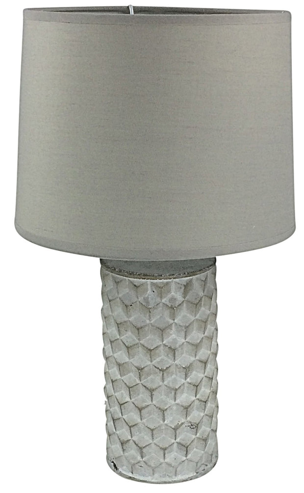 White Beveled Lamp And Shade 38cm
