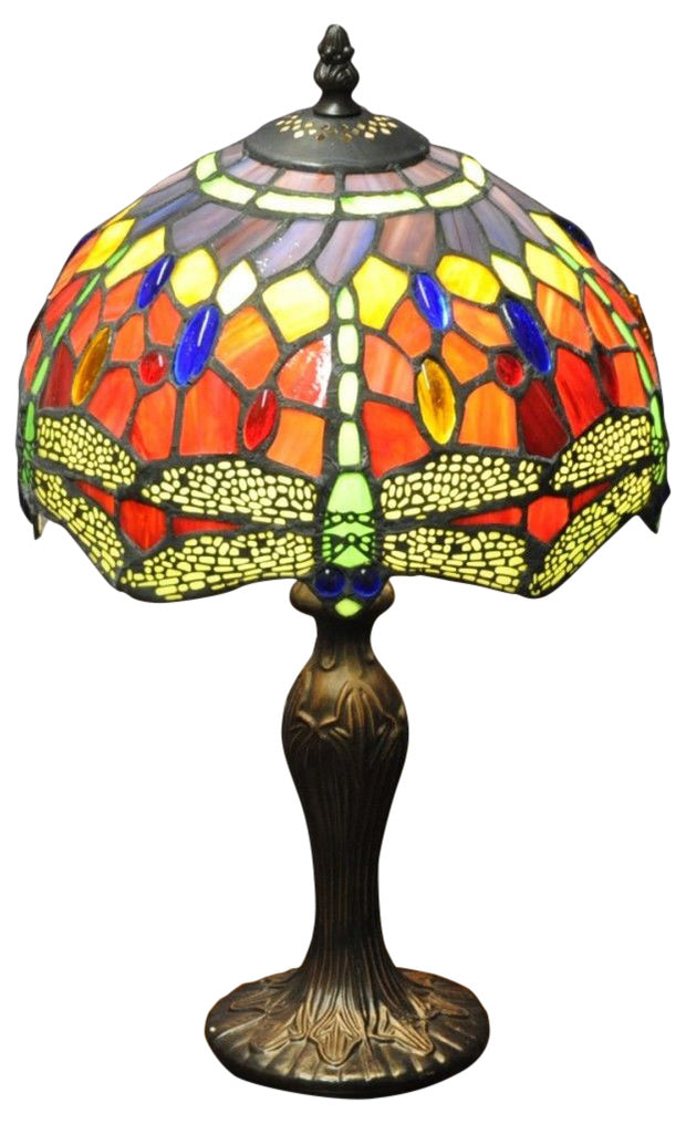 Red Dragonfly Tiffany Lamp 10""