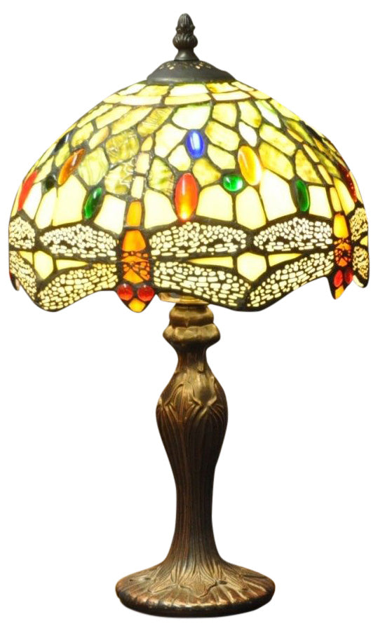 Green Dragonfly Tiffany Lamp 10""
