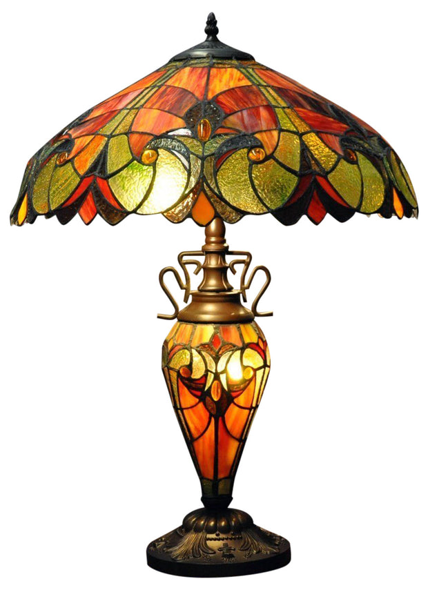 Red & Orange Double Tiffany Lamp 68cm