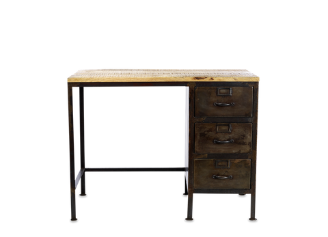 Mansu Iron & Mango Wood Industrial Desk