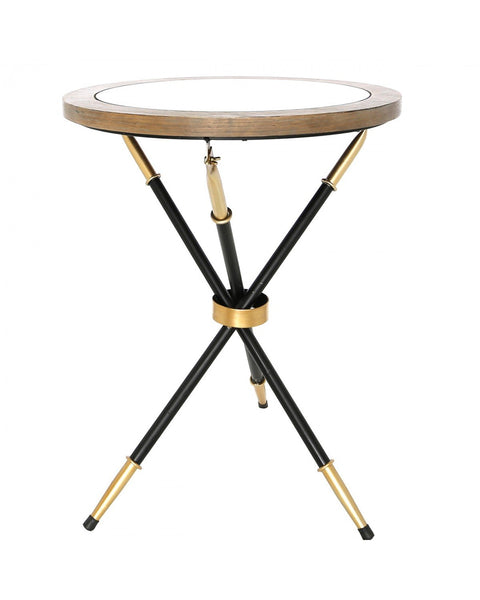 Black And Gold Metal Round End Table