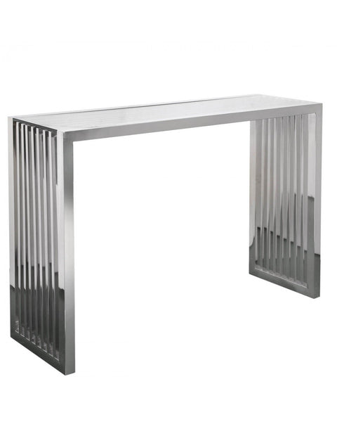 Chrome Slat Console Table with Glass top