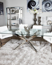 Chrome & Glass Rectangle Dining Table
