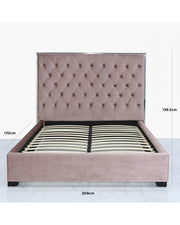 Rose Pink Upholstered Bed with Mirror Frame - Double Size