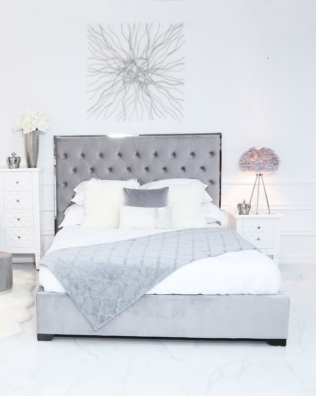 Grey Upholstered Bed with Mirror Frame - King Size