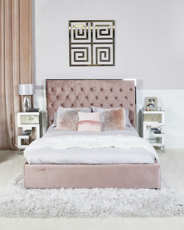 Rose Pink Upholstered Bed with Mirror Frame - King Size