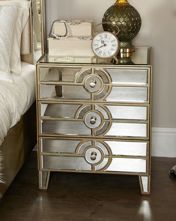 Antique & Clear Mirror 3 Drawer Bedside