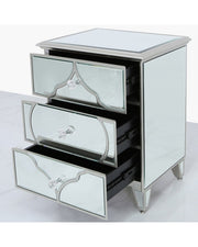 Mirror 3 Drawer Cabinet - Silver
