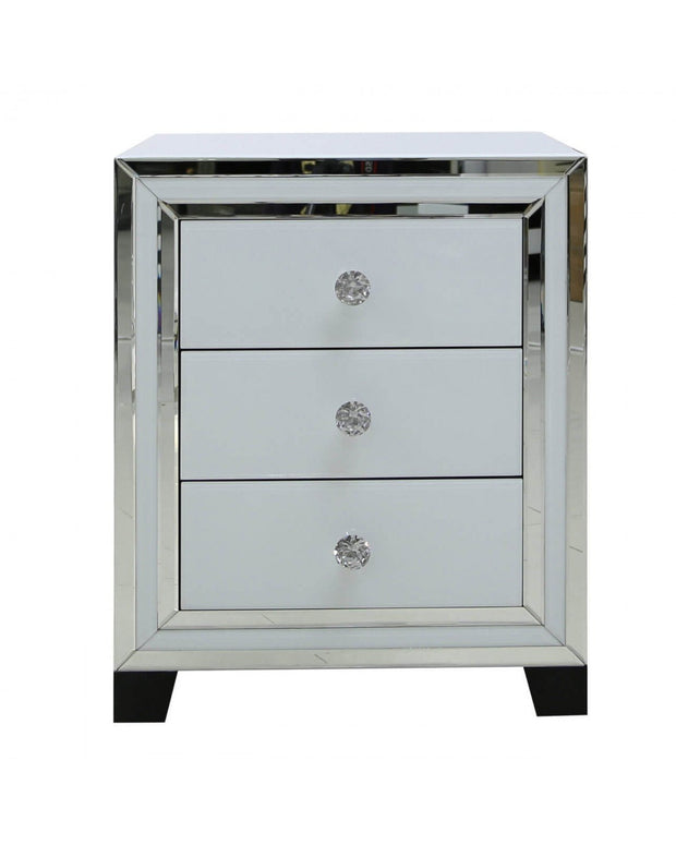 White Glass & Mirror  3 Drawer Bedside Cabinet