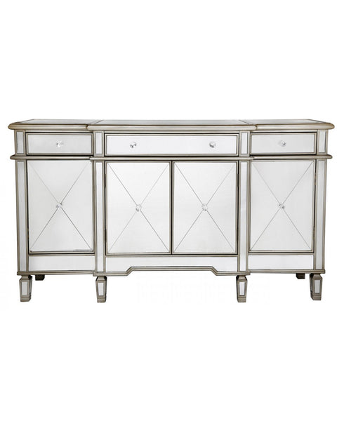 Criss Cross Front 3 Drawer 4 Door Mirror Sideboard With Gold Trim