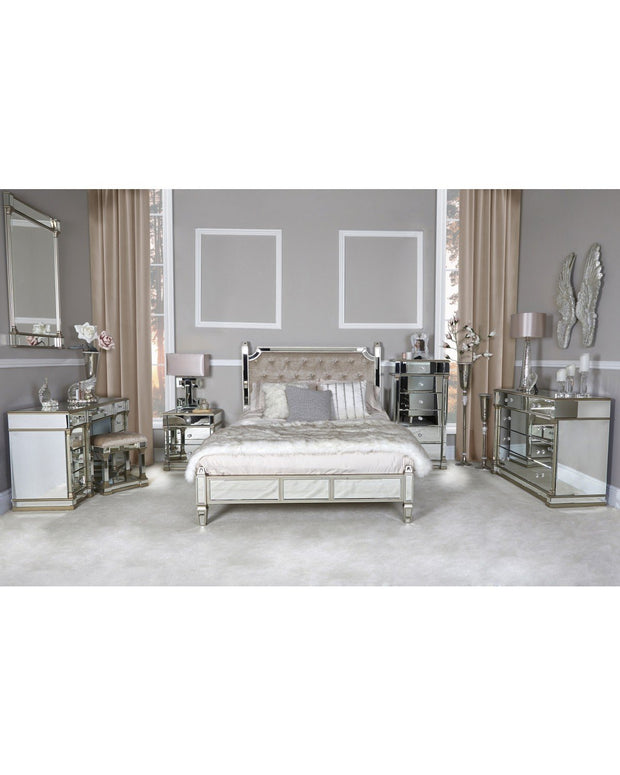 Champagne Mirror & Upholstered Bed - King