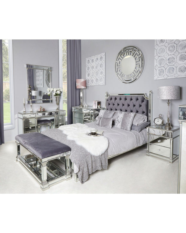 Silver Mirror Bed with Velvet Headboard - King