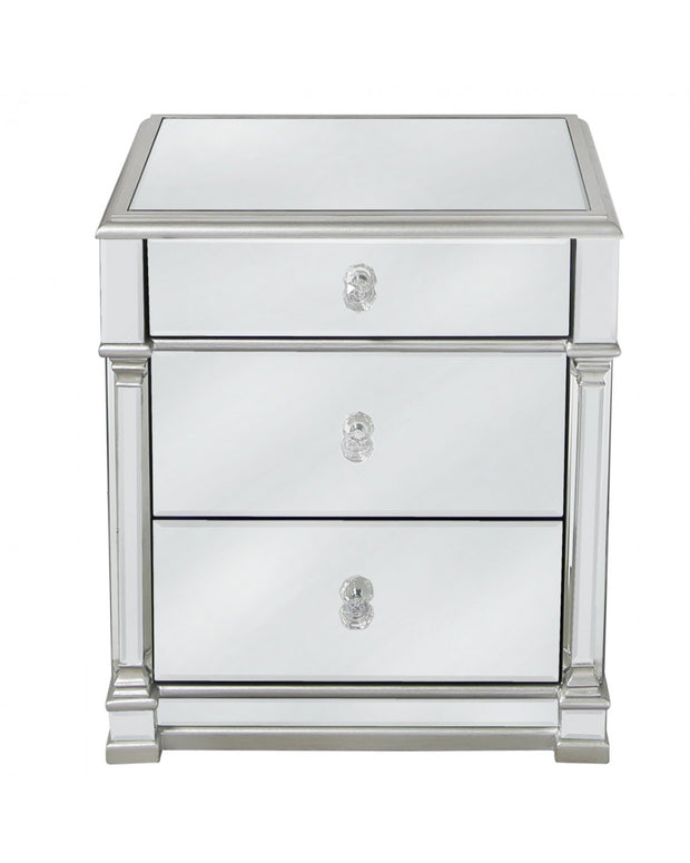 Silver Mirrored Bedside Table