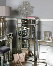 Mirrored Tallboy Cabinet - Silver