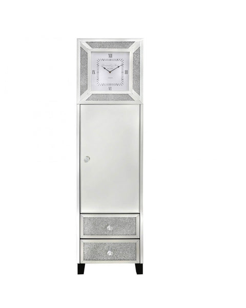 Milan Mirror Grandfather Clock 1 Door & 2 Drawers