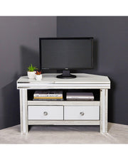 Corner Entertainment Unit - White & Clear Mirror