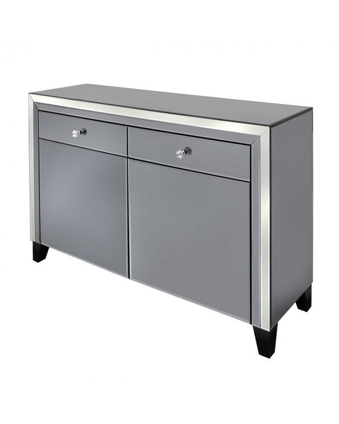 Smoked And Clear Mirror 2 Drawer 2 Door Sideboard