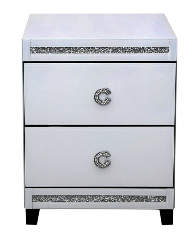 C Handle White  2 Drawer Bedside Cabinet