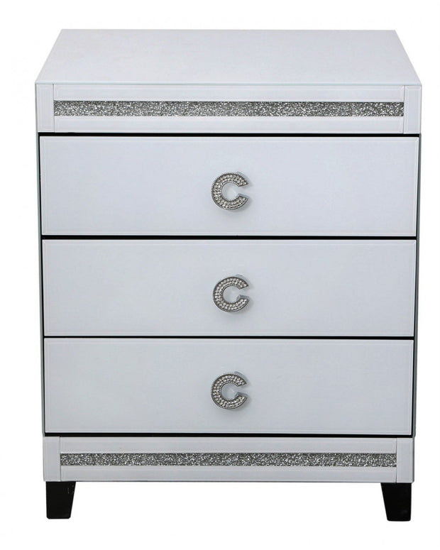 C Handle White 3 Drawer Bedside Cabinet