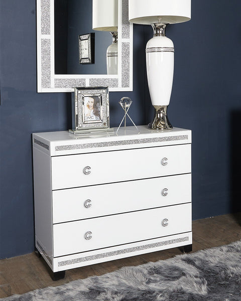 C Handle White 3 Drawer Chest