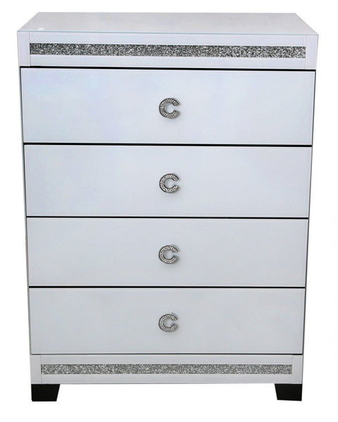 C Handle White 4 Drawer Chest