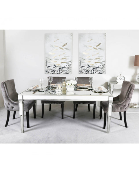 Mirror Dining Table - Silver