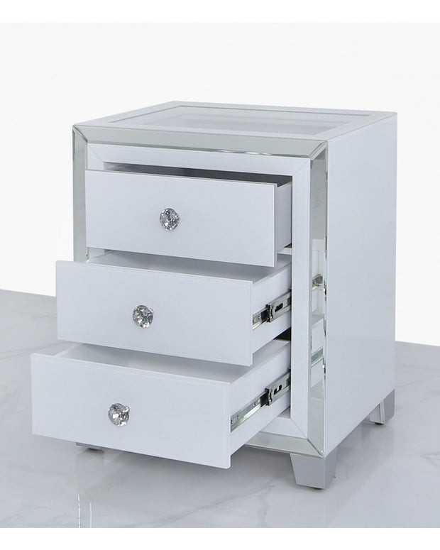 White And Clear Mirror Bedside Table