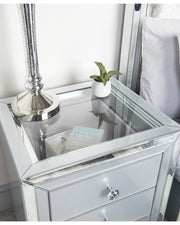 Grey & Clear Mirror Bedside Table