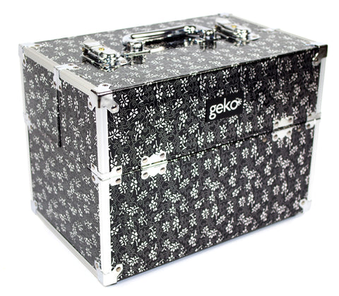 Vanity Case / Makeup Box Silver / Black Flowers