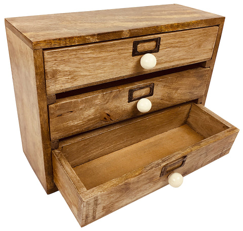Solid Wood Three Drawer Desktop Organiser 28cm