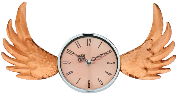 Copper Winged Wall Clock with Glass Cover 39cm