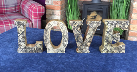 Hand Carved Wooden Letters Love