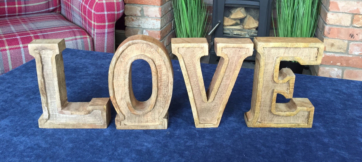 Hand Carved Wooden Embossed Letters Love Allissias Attic