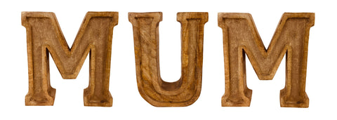 Hand Carved Wooden Embossed Letters Mum