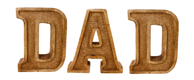 Hand Carved Wooden Embossed Letters Dad