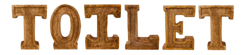 Hand Carved Wooden Embossed Letters Toilet