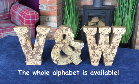 Hand Carved Wooden Flower Letters Home